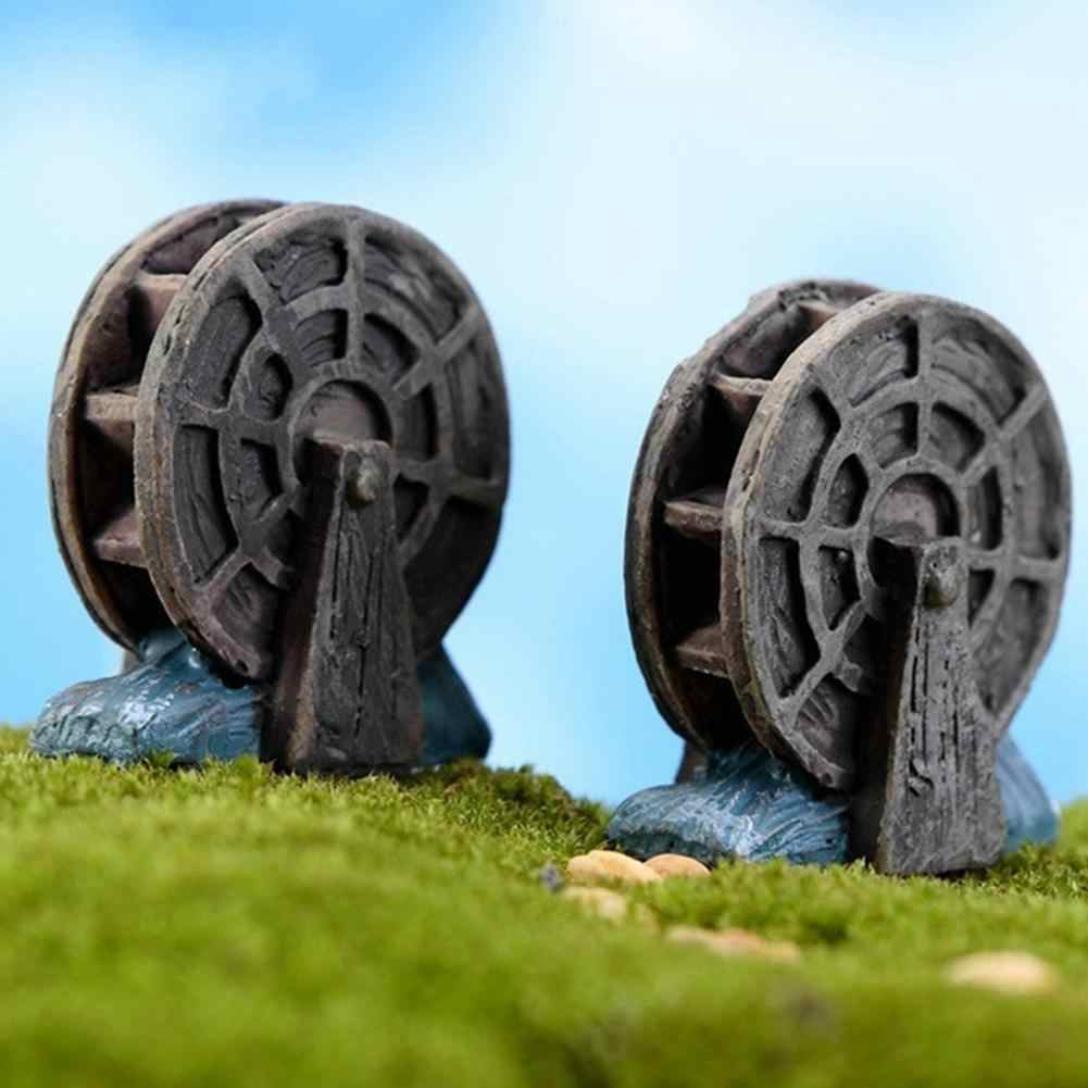 2 Pcs Waterwheel Micro Landscape Bonsai Succulent Plants ถังปลา DIY Decor