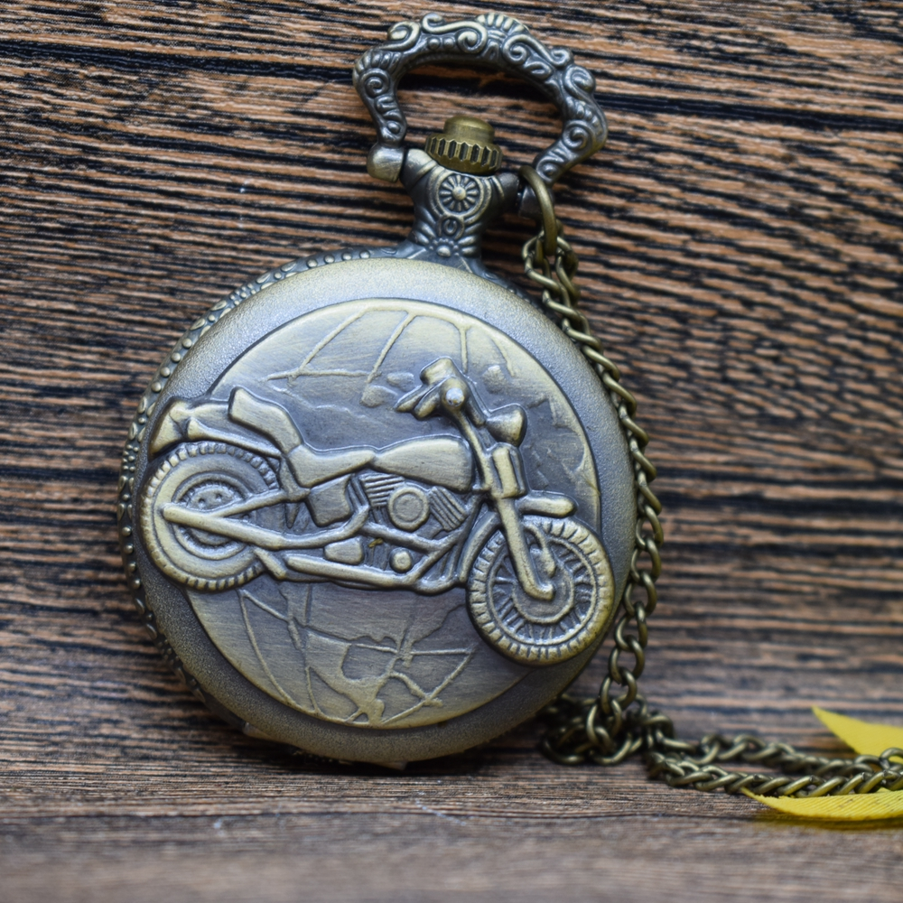 Pocket & Fob Watches Bronze Tone  Motorcycle Pattern Quartz Pocket Watch Necklace Pendan  Women/Mens  Pendant Watch Gift