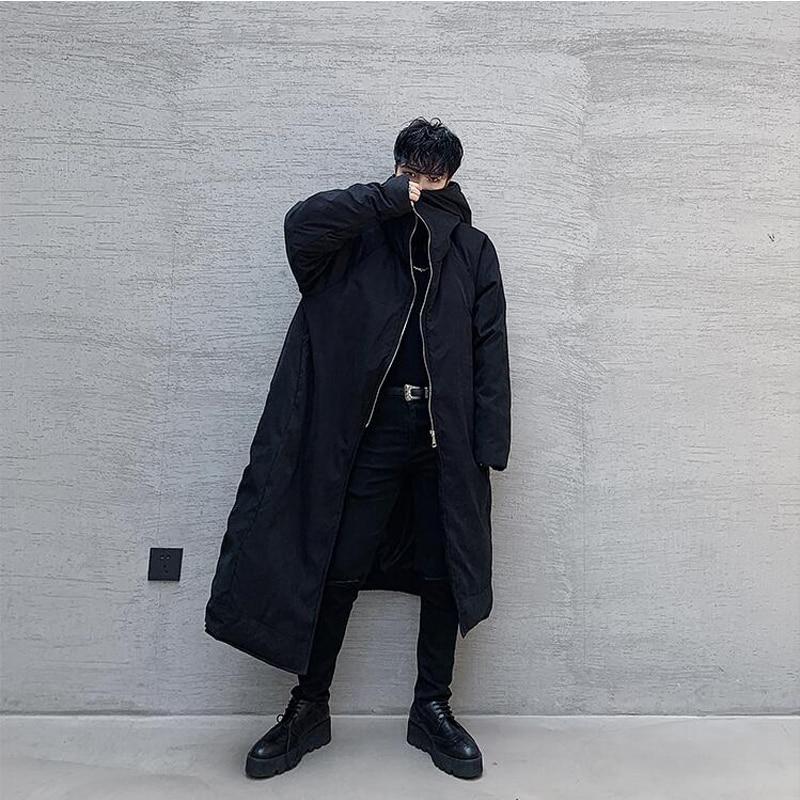 SHENGYUJIN ZY 1 hiver sorcière chapeau conception asymétrique longue en vrac coton costume marée hommes épais coton manteau - 3
