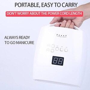 Профессиональный беспроводной светодиодный УФ-светильник для ногтей 54 Вт, лампа для сушки ногтей, лампа для перезаряжаемого маникюра, Гель-...