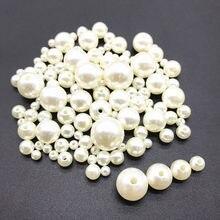 Imitação redonda pérola abs branco buraco reto bege artesanal frisado diy pulseira jóias acessórios fabricação