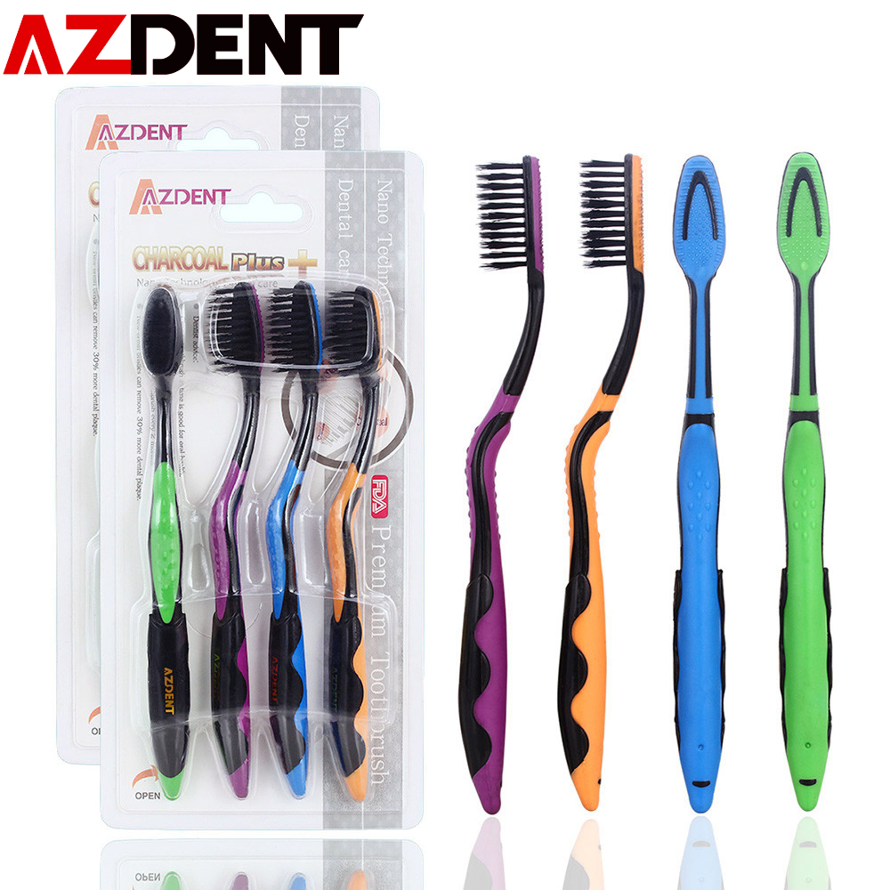 AZDENT 4pcs/pack Ultra Soft Toothbrush Oral Care Dental Tongue Cleaner Healthy Teeth Cleaning Tooth Brush Super Soft Toothbrushs image