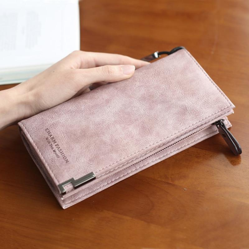 Leather Womens Phone Wallet Female Purse Bags Travel Wallet Women Purses Ladies Long Clutch Women Purses Matte Wallets Wristlet