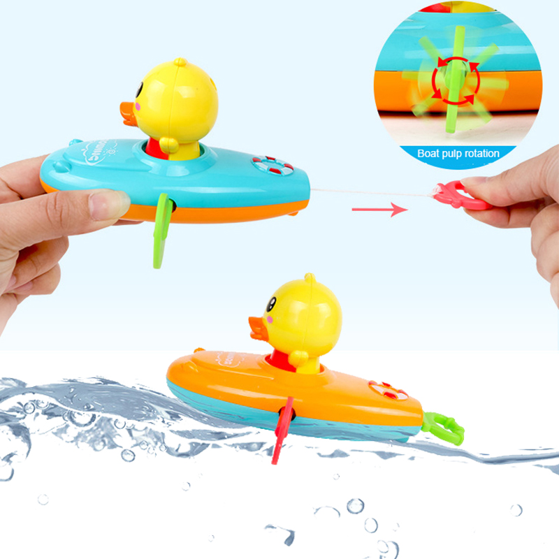 1 Pcs Cute Cartoon Duck Bath Toys Classic Water Toy Back Rowing Boat  Baby Bathing Swim Duck Chain Clockwork Toy For Children