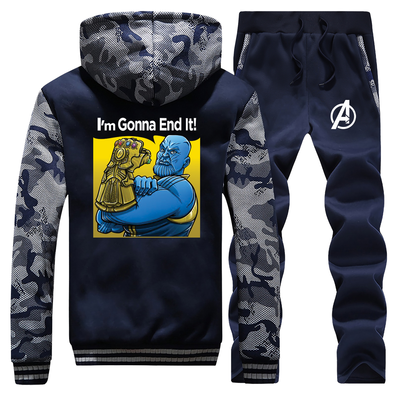 Avengers End Game Men's Sets Infinity Stone Male Camo Set Thanos I'm Gonna End It Thick  Hoodies 2019 Winter Warm Fleece Jackets