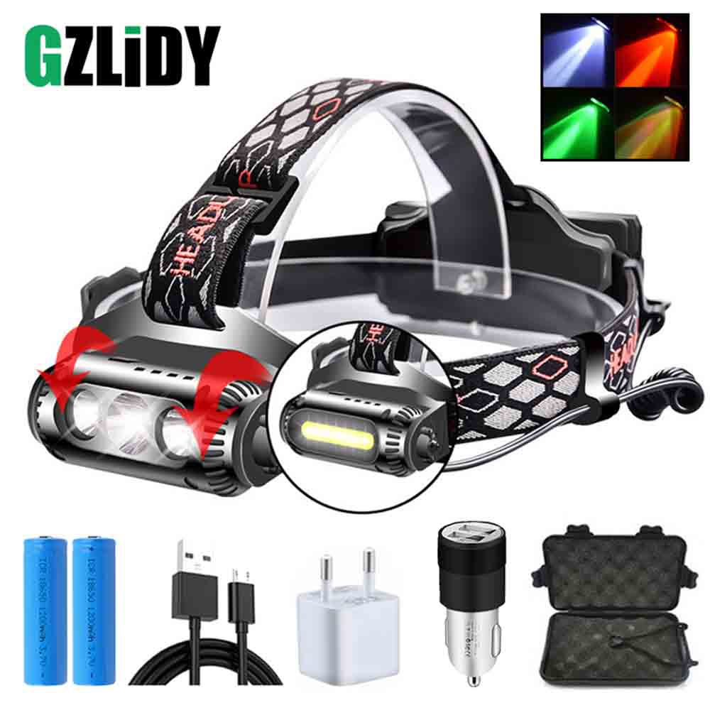 USB Rechargeable LED Headlamp 8 Light Mode LED COB Super Bright Headlights Waterproof Multifunction Use 18650 Battery
