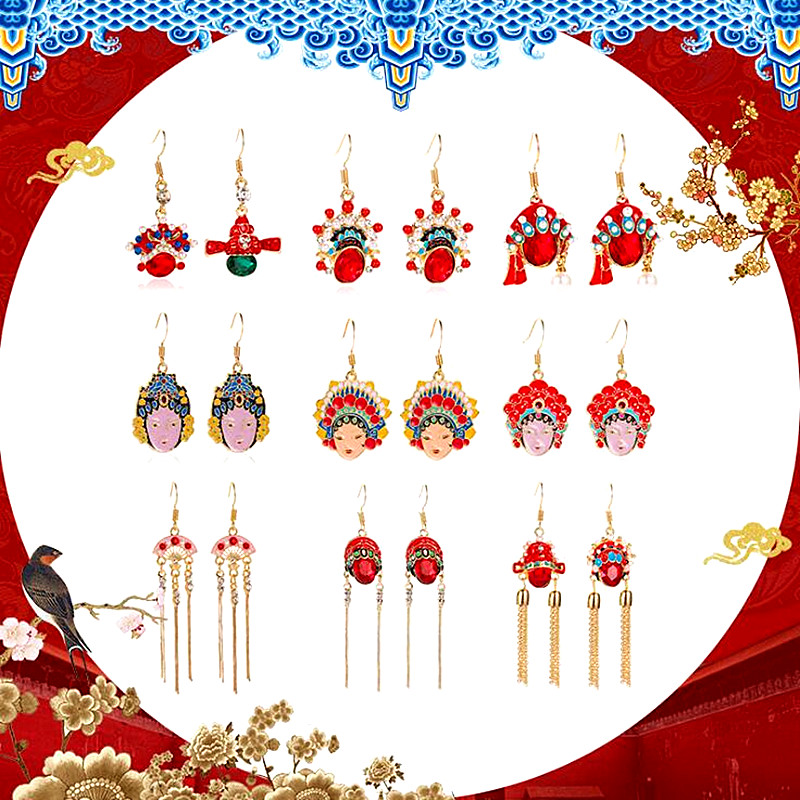 Timlee E271 New Originality Personality Beijing Opera Face Outline Rhinestone Tassels Drop Earrings,Fashion Jewelry Wholesale