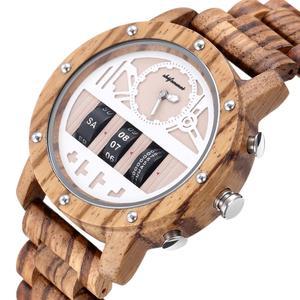 Image 2 - Mens Watch Shifenmei Brand Wood Watches Roll Army Digital Clock Chronograph Luxury New Desgins Wooden WristWatch Reloj Hombre