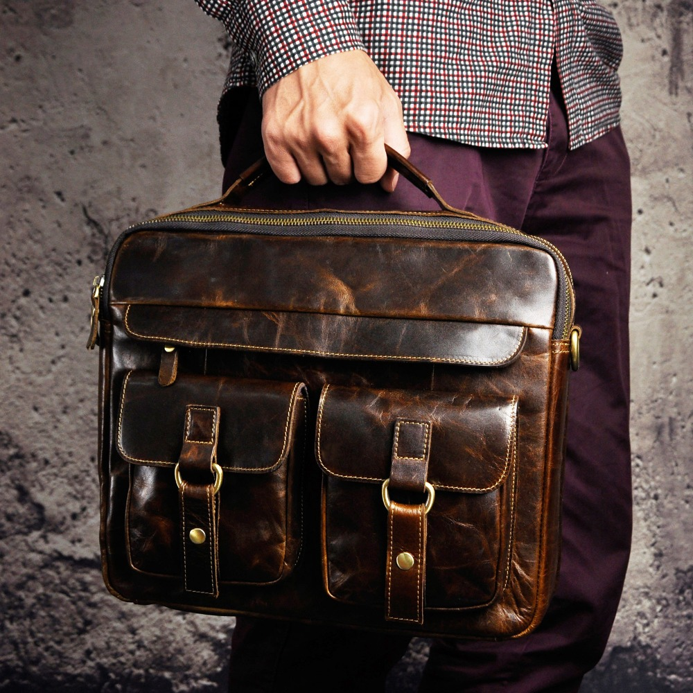 Men Quality Leather Antique Travel Business Briefcase 13″ Laptop Case Attache Portfolio Bag One Shoulder Messenger Bag
