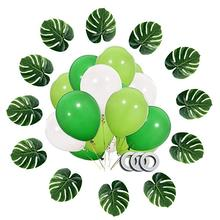 30pcs 12Inch Dinosaur Party Balloons, White Fruit Light Green Dark Latex Balloons with Ribbon for Supplie