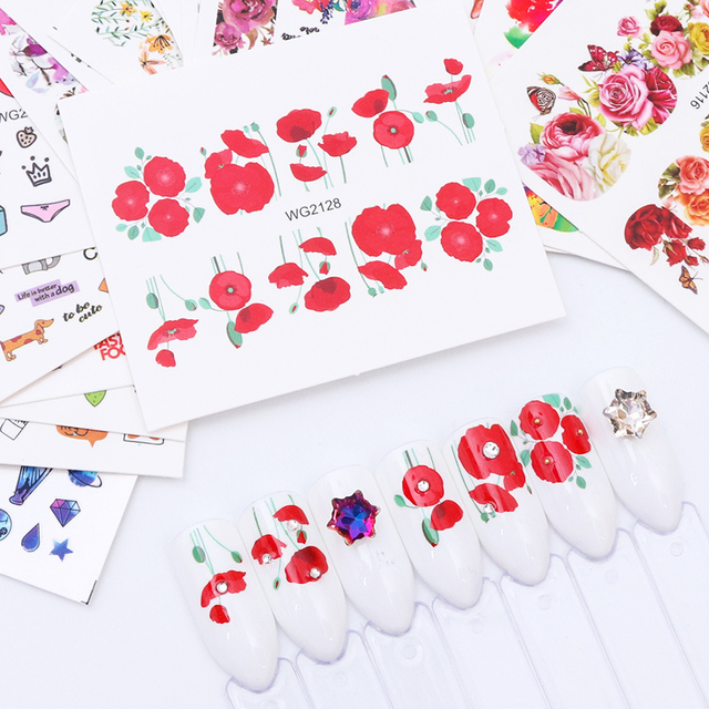 20pcs Mixed Design Sticker for Nails Flower Leaf Water Transfer Decals Nail Art Sliders for Manicure Adhesive Accessories CHWG20