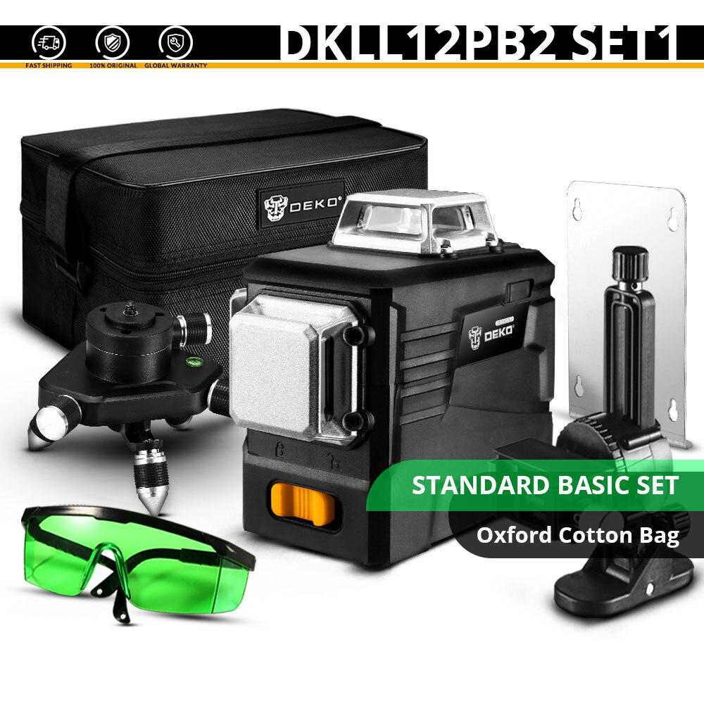 DEKO DKLL12PB1 12 линий 3D зеленый лазерный уровень Горизонтальные и вертикальные поперечные линии с автоматическим самонивелированием, в помещении и на улице - Цвет: DKLL12PB2 SET1