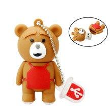 Stylo-clé mémoire bâton d'ours brun pouce, 32 go/64 go, disque U de 4 go, 8 go, 16 go, 256 go, USB, cadeau créatif