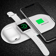 3 in 1 Wireless Charger 10W Fast Wireless Charging Station Stand Pad For iPhone Android Airpods Apple Watch iwatch 5 4 3 2 1
