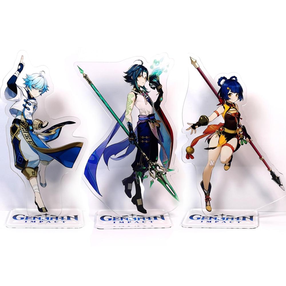 Genshin impacto personagens chongyun xiao xiangling gm acrílico suporte figura modelo placa titular topper anime