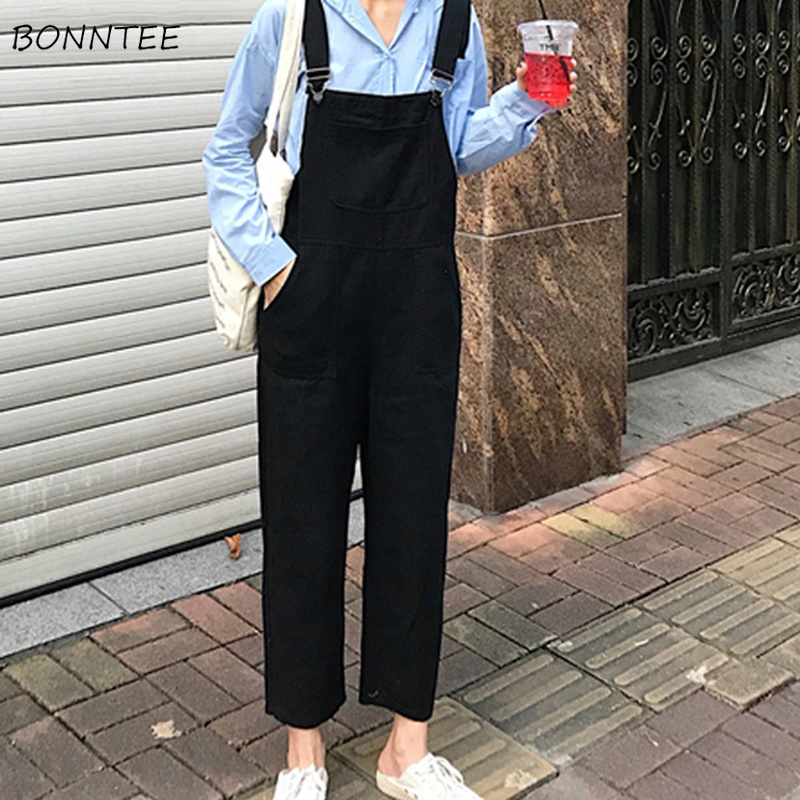 Jumpsuits Women Black Big Pockets Leisure High Quality Students Ankle-length Jumpsuit Korean Style Simple All-match Womens Denim