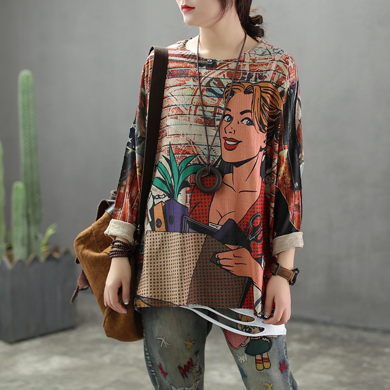 11 Styles New Vintage Loose Cartoon Print Women Sweaters Pullovers Autumn Winter Long Sleeve Pull Femme Female Jumpers AA117S50