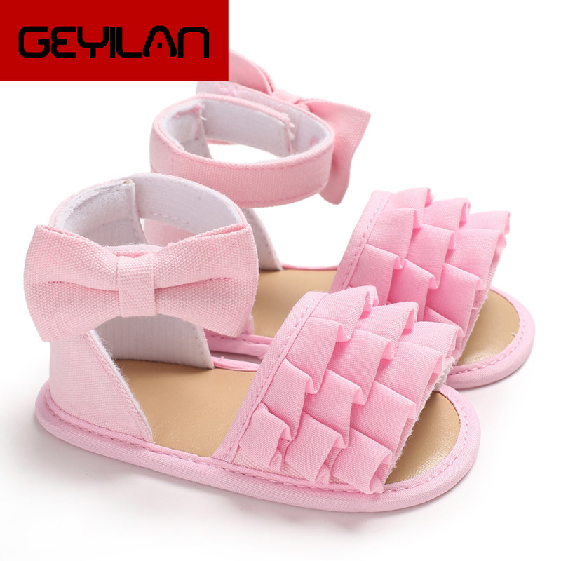 2019 New Lovely Baby Girls Canvas Sandals Infnat Baby Sweet Bow-knot Lace Flower No-slip Shoes Beach Casual Sandals 3 Colors