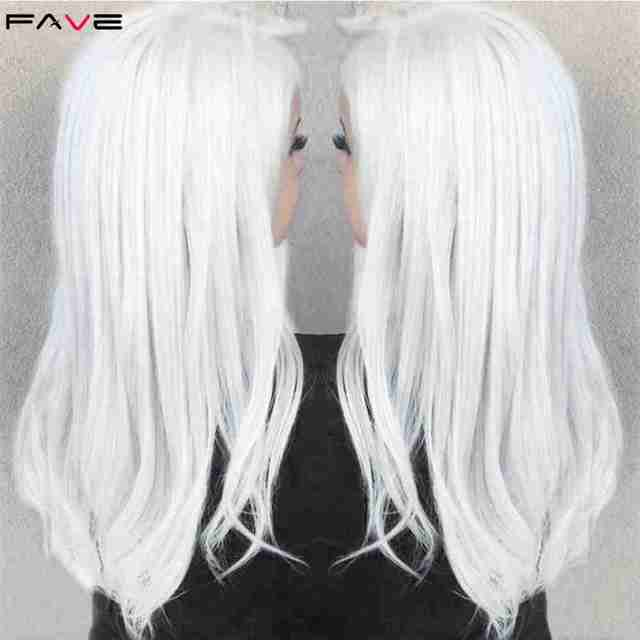 FAVE White Black Colorful Straight Heat Resistant Synthetic Wigs Costume Play For Black White Women Halloween Christmas Party