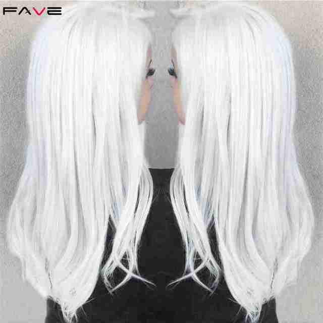 FAVE أبيض أسود ملون مستقيم مقاومة للحرارة بيروكات صناعية زي اللعب للمرأة السوداء البيضاء هالوين حفلة عيد الميلاد