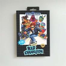 Kid Chameleon 소매 상자가있는 미국 커버 Sega Megadrive Genesis 비디오 게임 콘솔 용 16 비트 MD 게임 카드