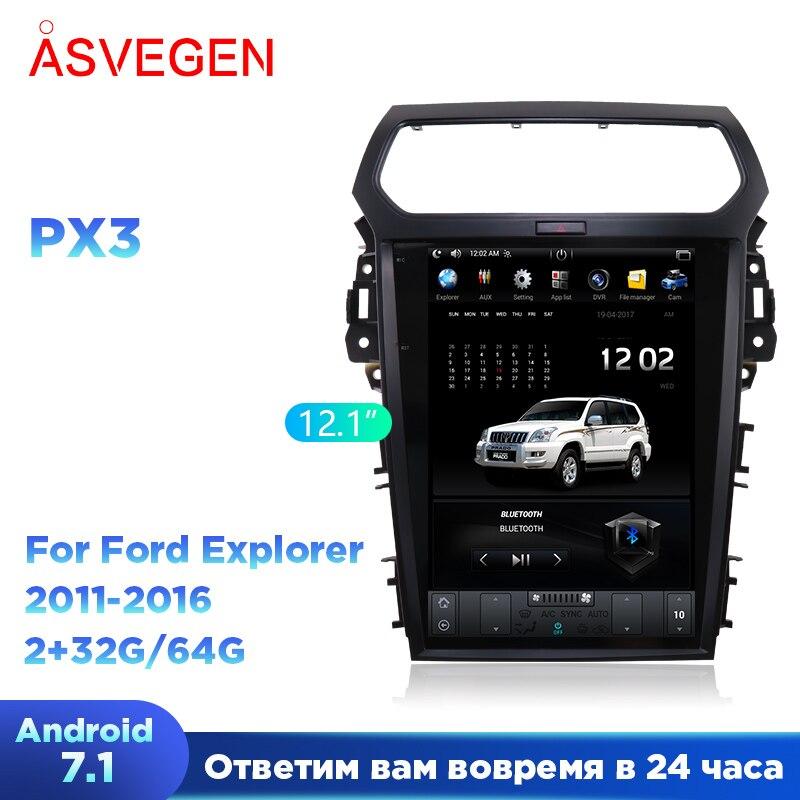 Tesla estilo android 7.1 jogador do carro de navegação gps para ford explorer 2g 32g 2011 2012 2013 2015 2016 multimídia carro áudio estéreo