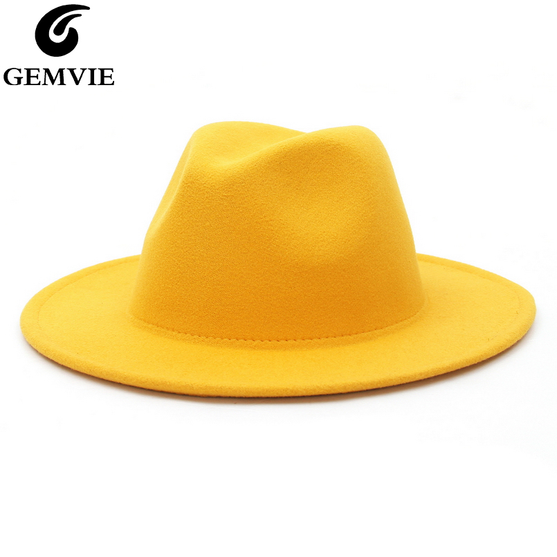 GEMVIE All-match Wide Brim Fedora Hat For Women Solid Color Wool Felt Hat For Men Autumn Winter Panama Gamble Yellow Jazz Cap