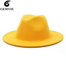 GEMVIE All-match Wide Brim Fedora Hat For Women Solid Color Wool Felt Hat For Me