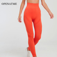 OPENATME High Stretch Sexy Seamless Hollow Breathable Nylon Leggings Sport Women Fitness Waist Yoga Pants Running