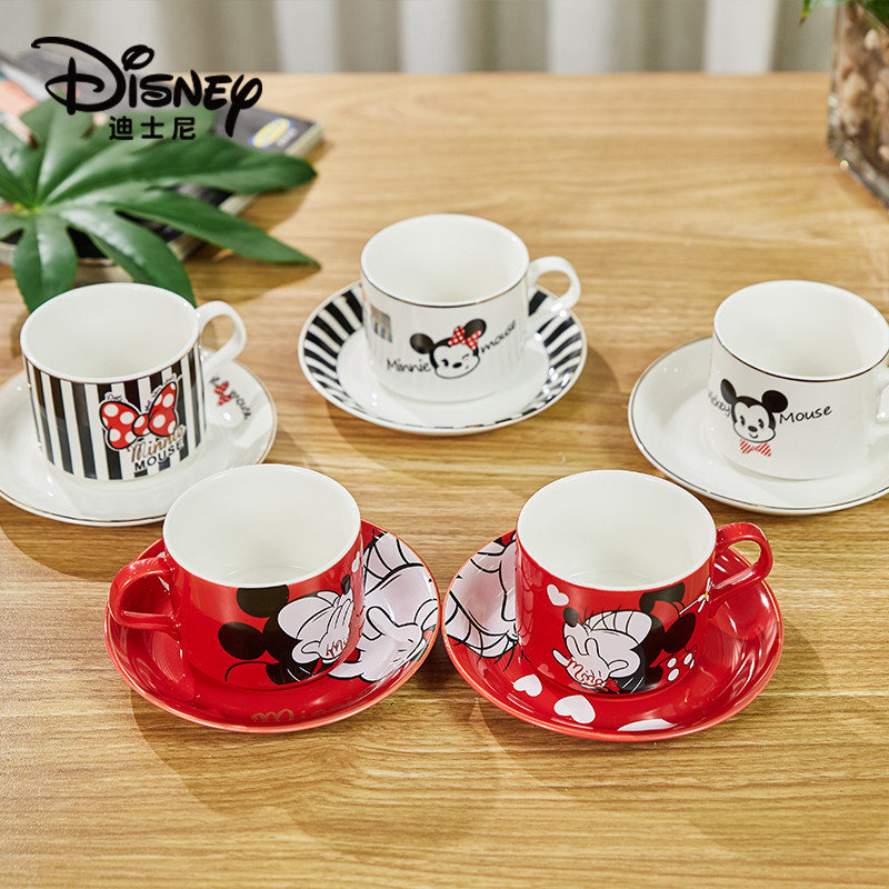 150ml Disney Minnie Mickey Cartoon Water Cup Coffee Milk Tea Breakfast Ceramic Mug Home Office Collection Cups Festival Gifts