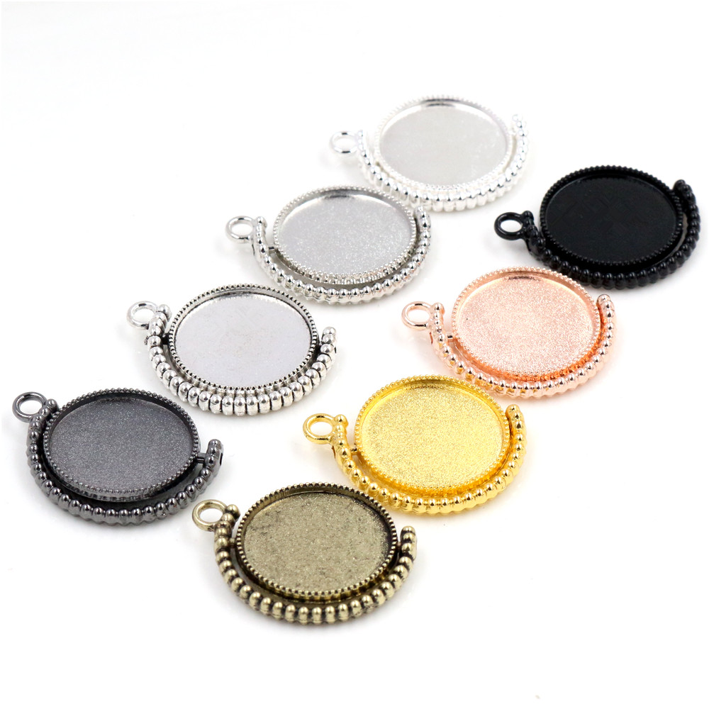 5pcs 20mm Inner Size Rotation Double Side 8 Colors Cameo Cabochon Base Setting Charms New Fashion Pendant