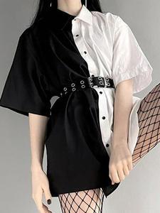 Mini Dress Patchwork 90s Dark-Loose Goth High-Waist Casual Summer Fashion Turn-Down-Collar