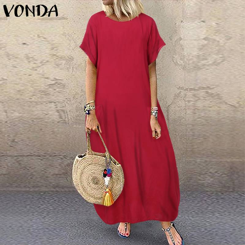 VONDA Women Bohemian Dress 2019 Summer Sundress Vintage Short Sleeve Long Party Maxi Long Dress Casual Robe Vestidos Plus Size