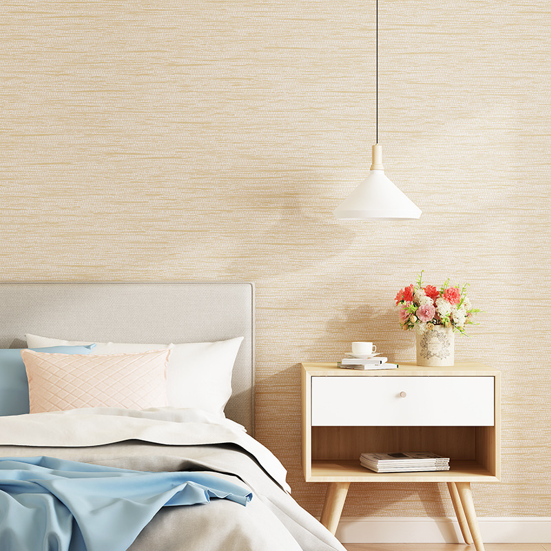 Non-woven Wallpaper Modern Minimalist Solid Color Plain Color Japanese Style Flax Bedroom Living Room Hotel Decoration Wallpaper