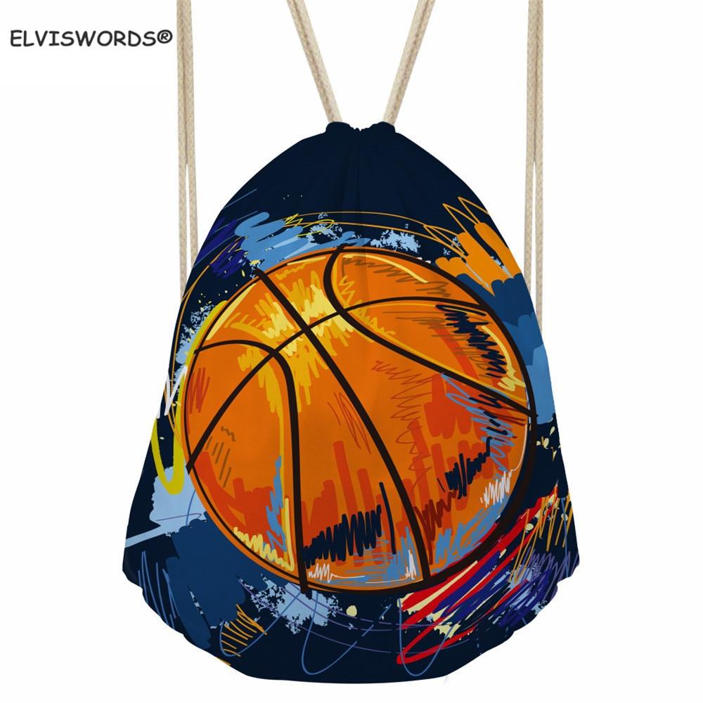 ELVISWORDS Basketball/Football/Rugby Printed Bag Customize Your Logo Drawstring Bags School Bag Set For Kid Boys Sport Gym Bags