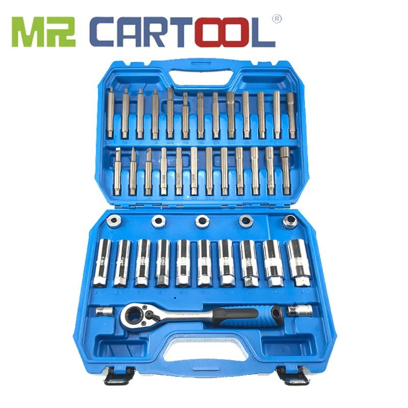 MR CARTOOL 43pcs Steering Hub Suspension Shock Absorber Strut Nut Removal Tool Go-thru Socket Kit Ratchet Sockets Set