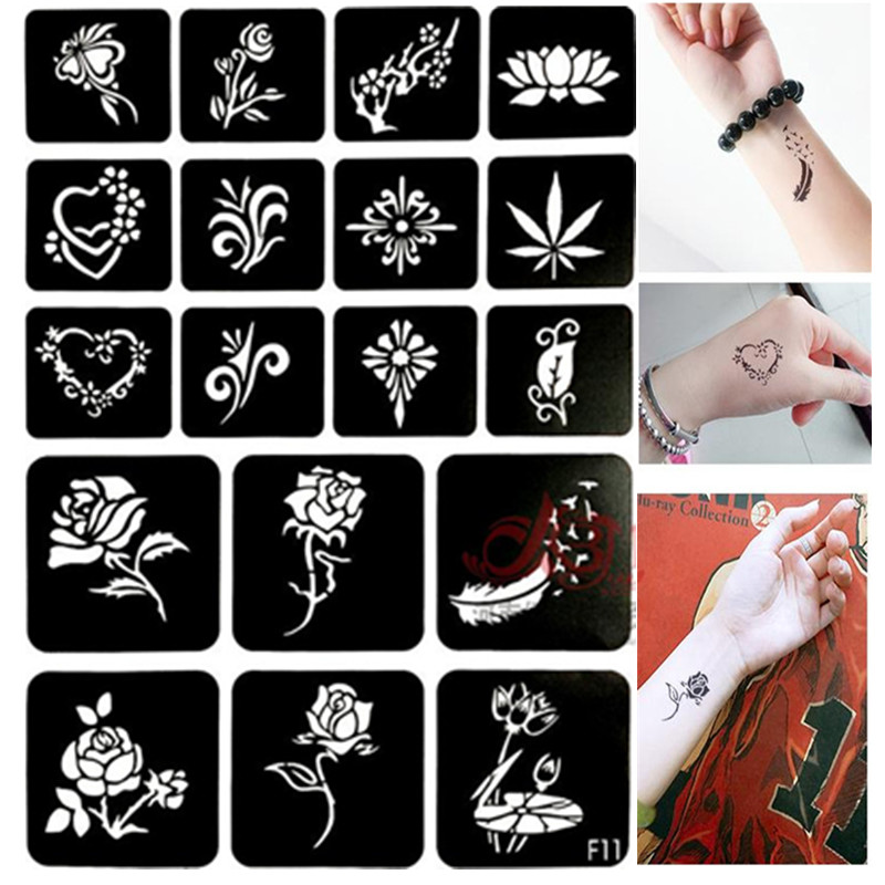 18pcs/set Henna Tattoo Stencil Flower Hollow Out Glitter Tattoo Stencils For Painting Pochoirs Pour Peinture Airbrush Stencil