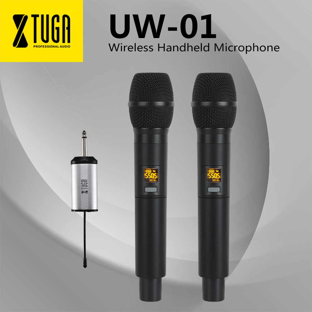 XTUGA UW-01 UHF Wireless Microphone System Handheld LED Mic UHF Speaker With Portable Receiver