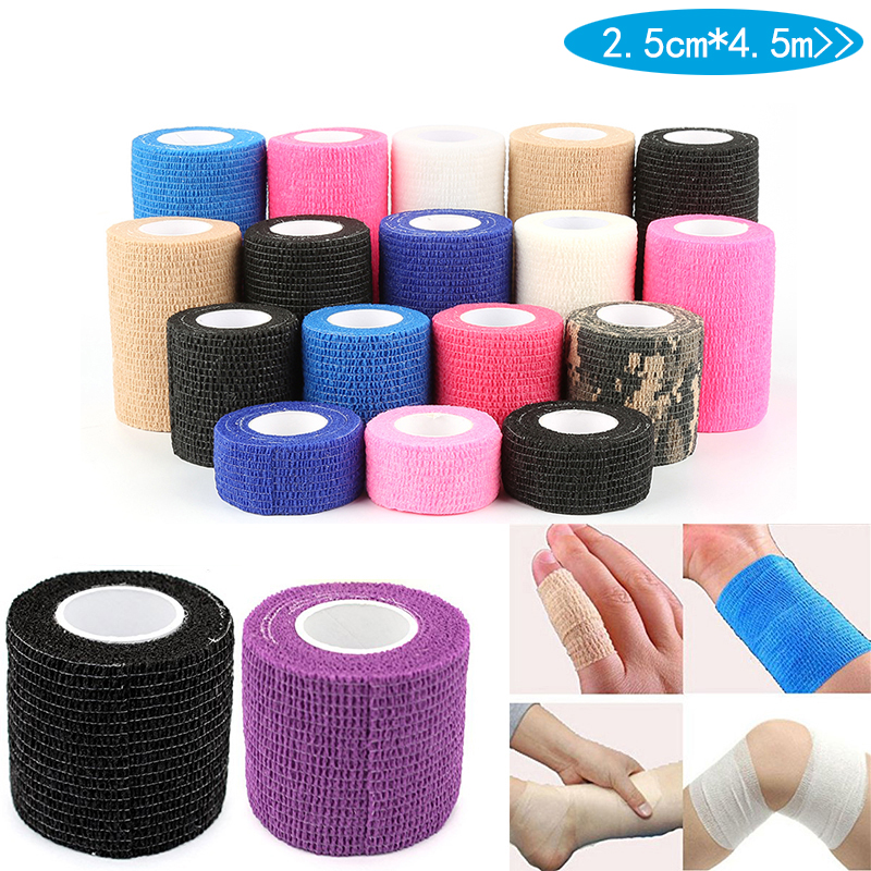 2.5cm*4.5m Bandage First Aid Kit Health Care Treatment Self-Adhesive Elastic Bandage Muscle Tape Finger Joints Wrap