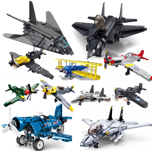 ww2 plane compatible military technic airplane army us armor fighter jets building blocks world war 1