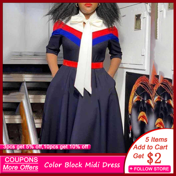 Dark Blue Color Block African Women Dress with Belt Bowknot Stripes Patchwork Office Robe Femme Half Sleeve A-Line Midi Vestidos lace up stripes a line midi dress