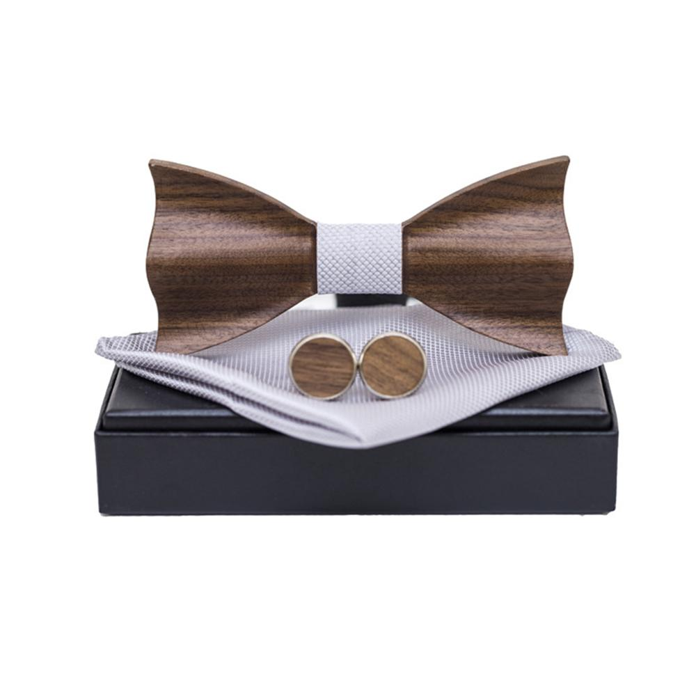 Wooden Bow Tie Men Women 3D Embossed Square Scarf Cufflinks Jewelry Decoration