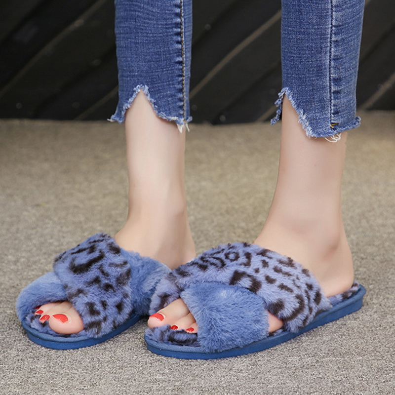 2020 Women Fur Slippers Summer Sandals Fur Slides For Women Big Size 43 Fluffy Home Flat Female Shoes Indoor Women' Casual Shoes