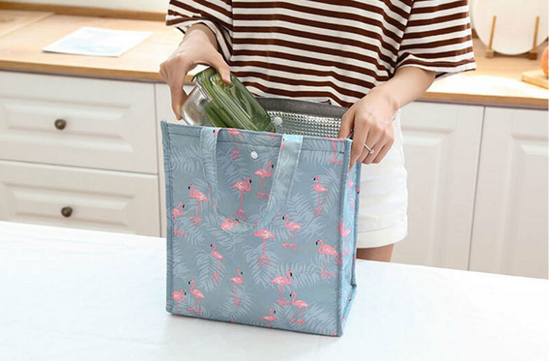 Woman's Lunch Bags Rabbit Bear Raccoon Flowers Flamingo Cooler Insulated Canvas Picnic Bag Box For Unisex Thermal Food