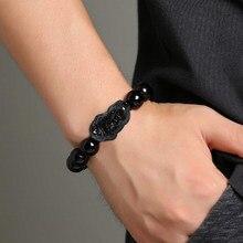 Feng shui preto obsidian riqueza pi xiu pulseira atrair riqueza e boa sorte pulseira