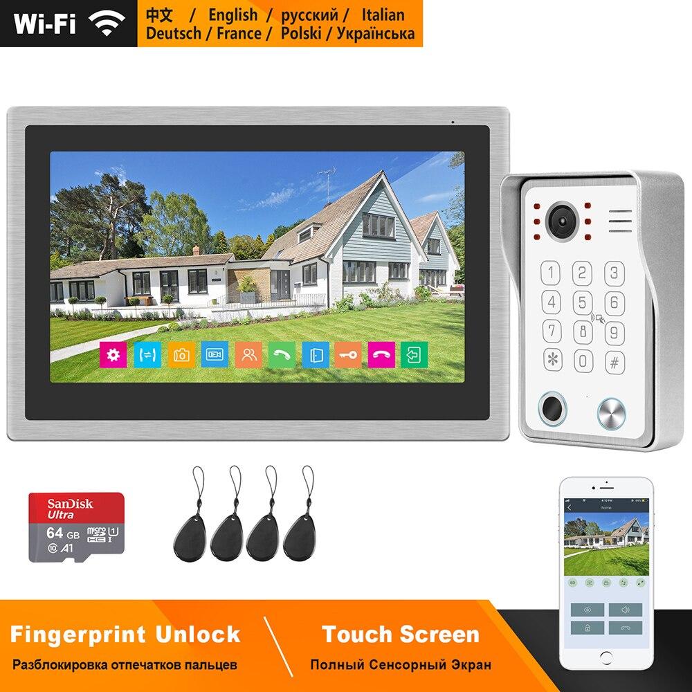HomeFong Wireless Video Intercom For Home IP Video Doorbell Fingerprint Unlock  HD 10 Inch Touch Screen Wifi Intercom System Kit