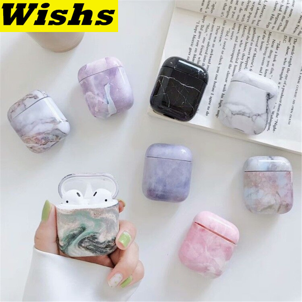 Cute Marble Earphone Headset Accessories PC Hard case For Apple Airpods Wireless Bluetooth Headset bags