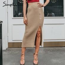 Simplee Sexy côté split bouton femmes tricoté jupe élégante plissée femme midi jupe taille haute fête porter dames bas jupe