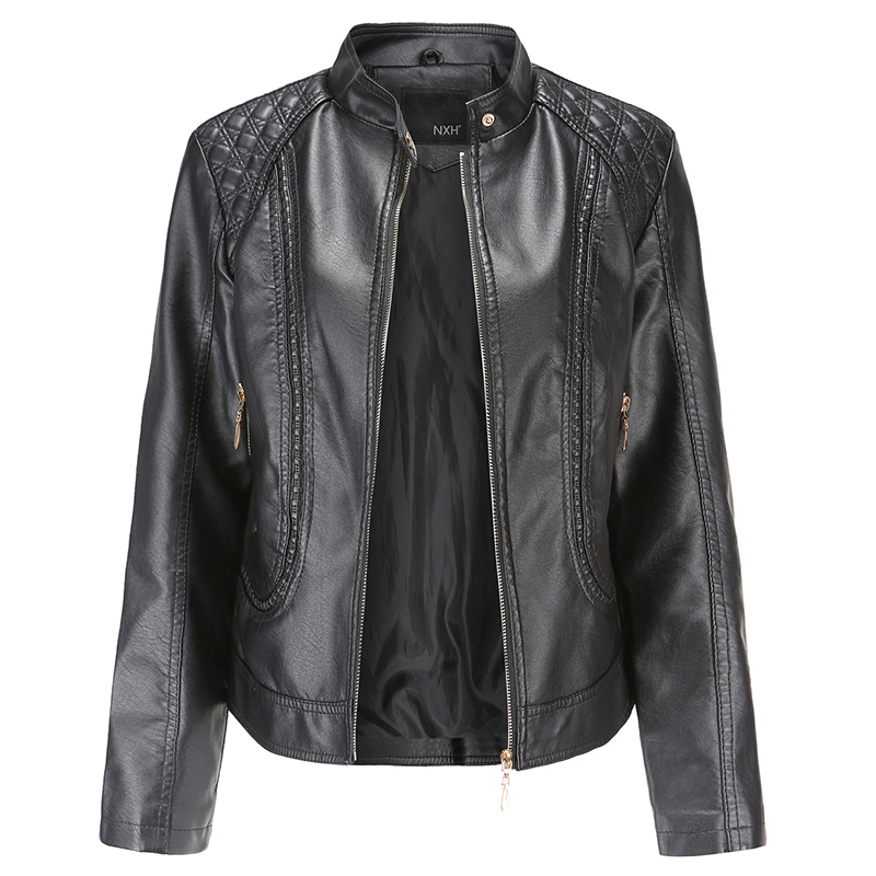 2020 Autumn Women Slim Faxu PU Leather Jacket Plus Size Stand Collar Slim Ladies Coat Casual Solid Outwear Chaqueta Hombre Mujer