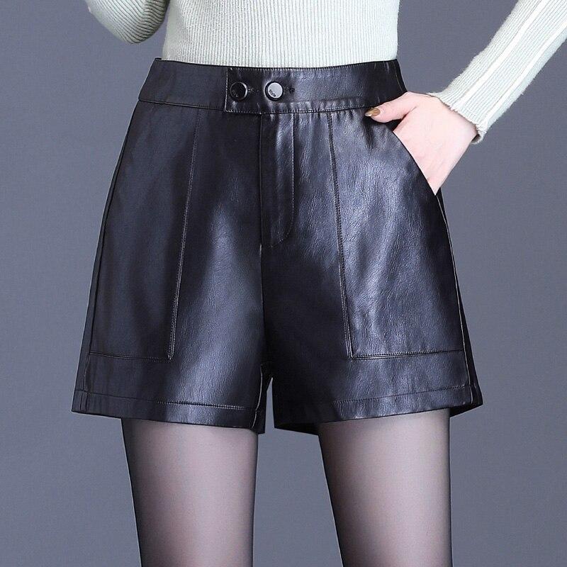 Осенние шорты из искусственной кожи с высокой талией, женские повседневные шорты из искусственной кожи, а силуэта, широкие шорты, зимние женские шорты 5XL|Шорты|   | АлиЭкспресс